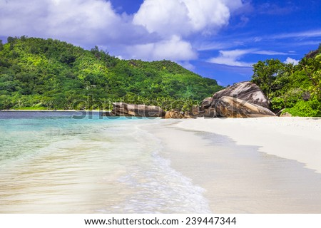 white sandy beaches of Seychelles islands - stock photo
