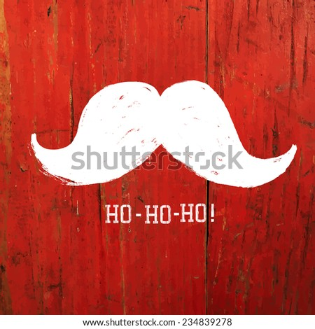 White Santa's Moustache and Ho-Ho-Ho! words. Christmas funny card design. Raster version - stock photo