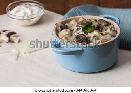 White sauce casserole, chicken and mushroom - stock photo