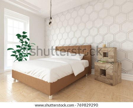 White Scandinavian Bedroom Interior With Large Brown Bed. Home Interior. 3d  Illustration.
