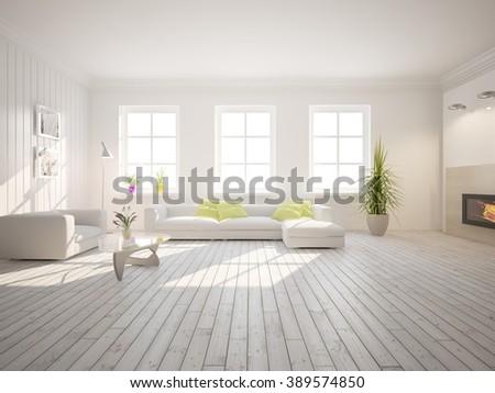 white scandinavian interior design - 3d illustration - stock photo