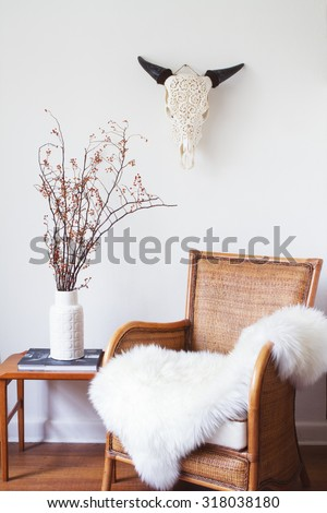 White scandinavian interior with furniture and decorative objects - stock photo