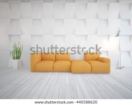 white scandinavian interior with orange sofa.3D illustration