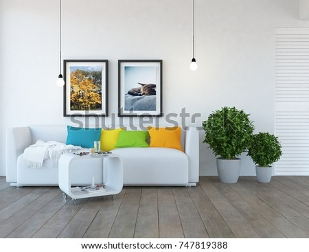 White scandinavian room interior. Nordic interior. 3d illustration