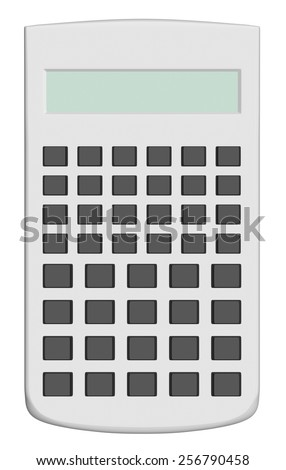 White scientific calculator without text on black buttons isolated on white background - stock photo