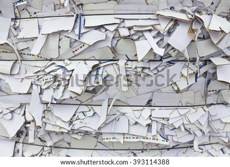 White scrap cardboard on the landfill of waste paper - stock photo