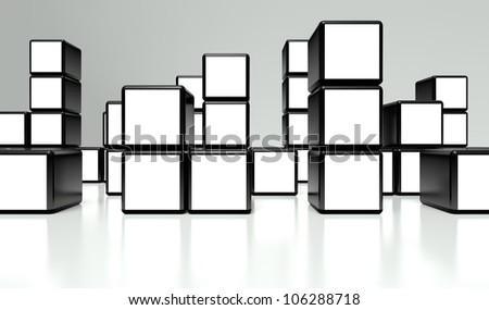 White screen video wall of many cubes on white background - stock photo