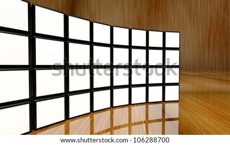 White screen wall of many cubes on wooden background - stock photo