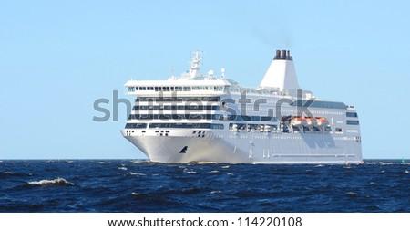 white sea passanger ferry ship - stock photo