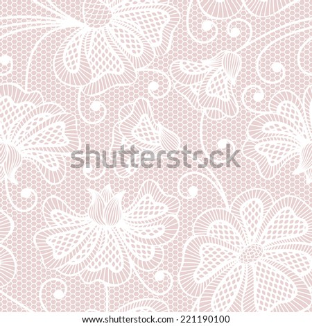White seamless flower pattern on pink background