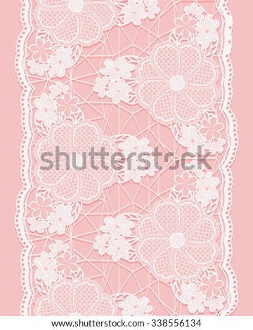White seamless lace ribbon on pink background. Vertical border of floral elements. Rasterized version. - stock photo