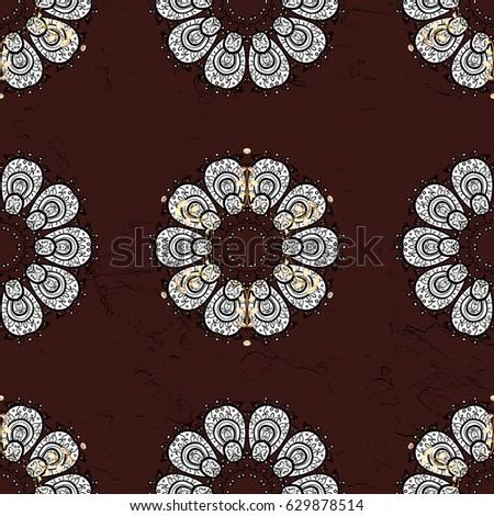 White seamless pattern on brown background with white elements. Seamless damask classic white pattern. Abstract background with repeating elements.