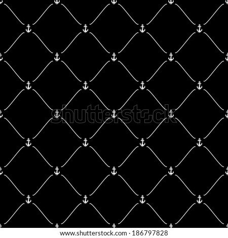 White seamless pattern with anchor symbol on black, bitmap copy.