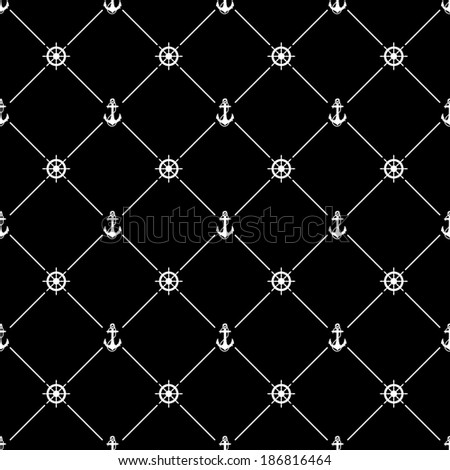 White seamless pattern with ships wheel and anchor symbol on black, bitmap copy. - stock photo