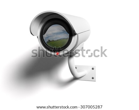White Security camera with red led and reflected in the lens