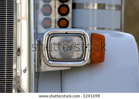 White Semi Detail - stock photo