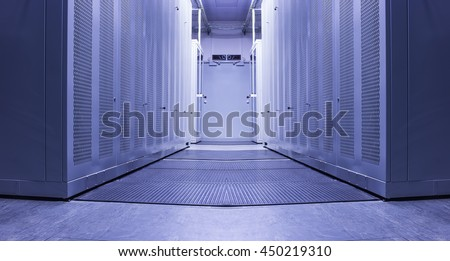 White Server Room Network/communications server cluster in a server room. - stock photo