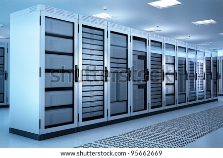 White Server Room Network/communications server cluster in a server room. CG Image.