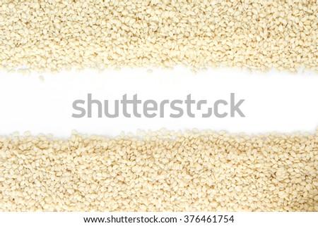 white sesame seed on white background - stock photo