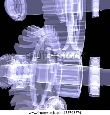 White shafts, gears and bearings. X-ray render on black background