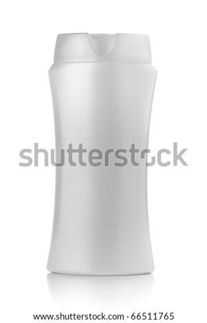 White shampoo bottle. Isolated on white background - stock photo