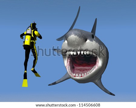 White Shark with Diver Computer generated 3D illustration - stock photo
