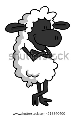 White Sheep In Relaxing Pose - stock photo