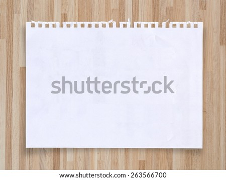 White sheet of paper for your message on vintage wooden texture background, with clipping path. - stock photo
