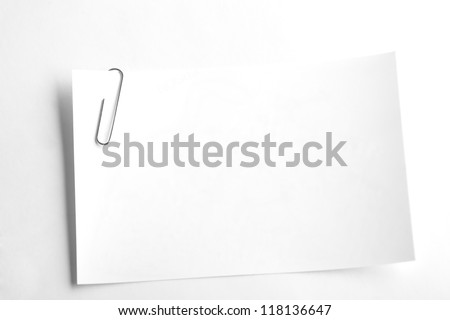 White sheets for record stapled paper clip