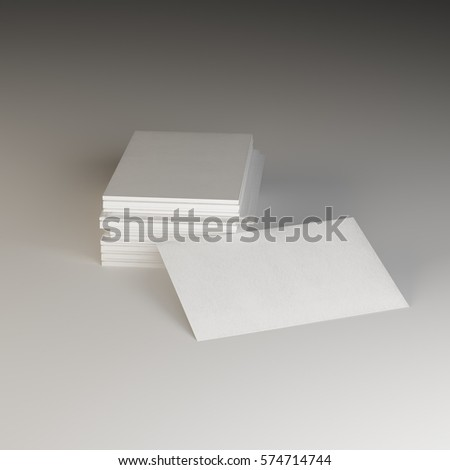 white sheets template cards 3D rendering