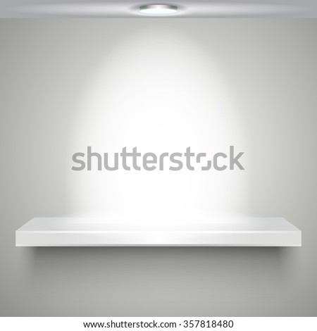 white shelve with illumination - stock photo