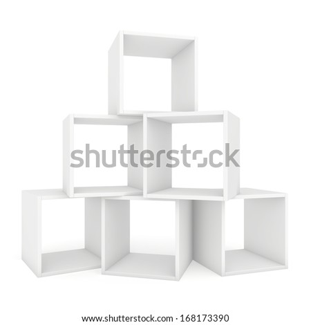 white shelves on each other. 3d render on white background. - stock photo