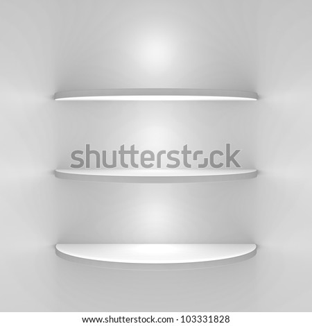 White shelves with lights on white background - stock photo
