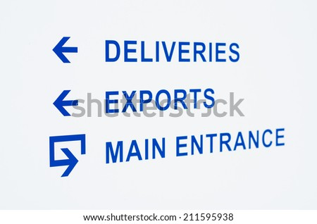 white shield in front of a warehouse - stock photo