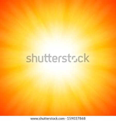 White shining sun on orange background - stock photo