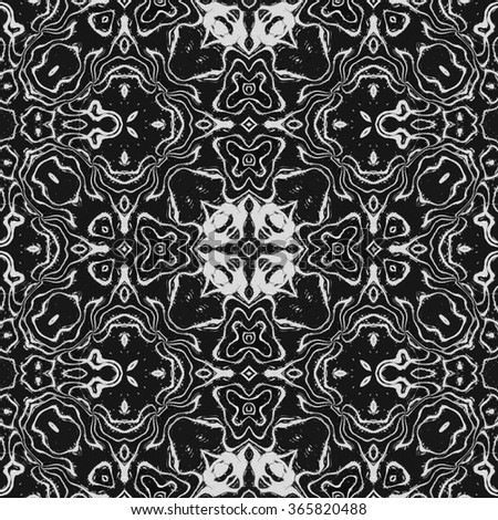 White shinning frames, calligraphic outlined stroke. Monochrome seamless pattern in traditional style. Kaleidoscopic ornate floral design.