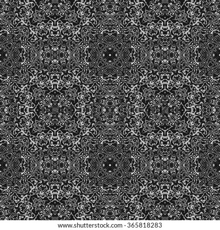 White shinning neon frames, calligraphic outlined stroke. Monochrome seamless pattern in traditional style. Kaleidoscopic ornate floral design.