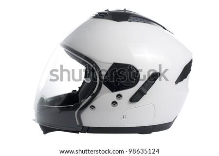 White, shiny motorcycle helmet isolated - stock photo