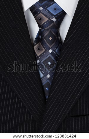 white shirt and blue tie men suit - stock photo