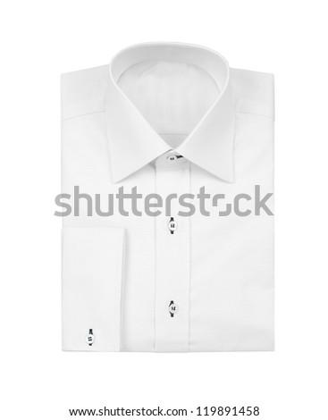 White shirt isolated on white background - stock photo