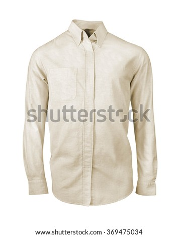 white shirt with long sleeves isolated on white background