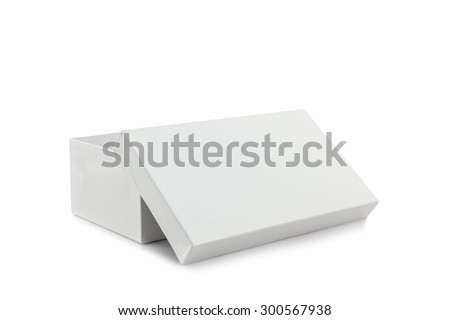 White shoe box on white background with clipping path. For shoes, electronic device and other products.