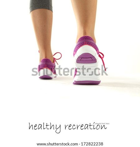 white shoes of sport and white space for text  - stock photo