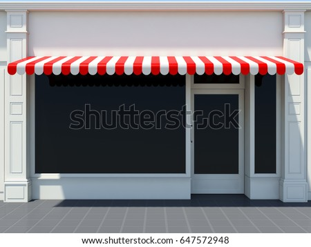 White shopfront in the sun - classic store front with red awnings 3D render