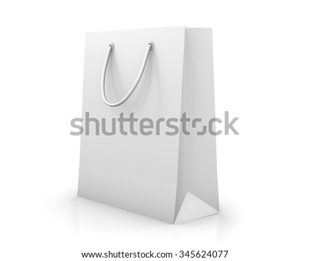 White shopping bag isolated on white background, illustration.