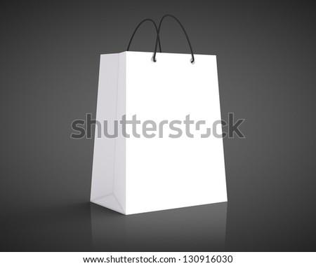 White Shopping Bag Black Handle White Shopping Bag on a Black