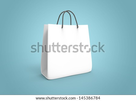 white shopping bag on blue background - stock photo