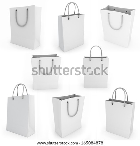 White shopping bag render image on a white background - stock photo