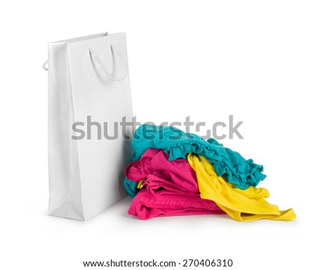 white shopping bags and clothing isolated on white - stock photo