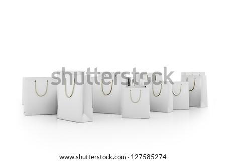 White shopping bags isolated on white background - stock photo